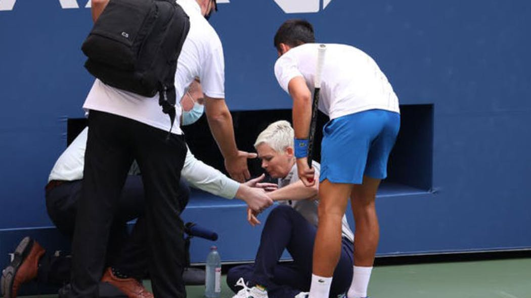 Novak Djokovic Defaulted From Us Open Match After Hitting Linesperson With Ball